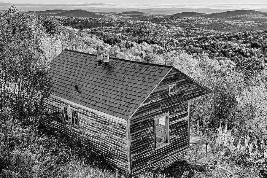 Hogback Mountain Scenic Overlook Marlboro VT Vermont Fall Foliage Autumn Black and White by Toby McGuire