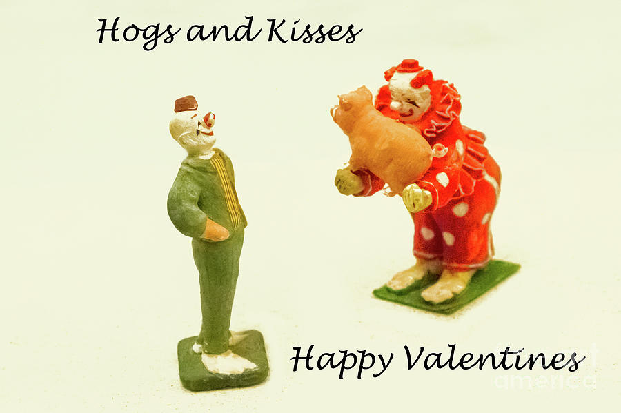 Circus Photograph - Hogs And Kisses Clown Valentines by Marilyn Cornwell