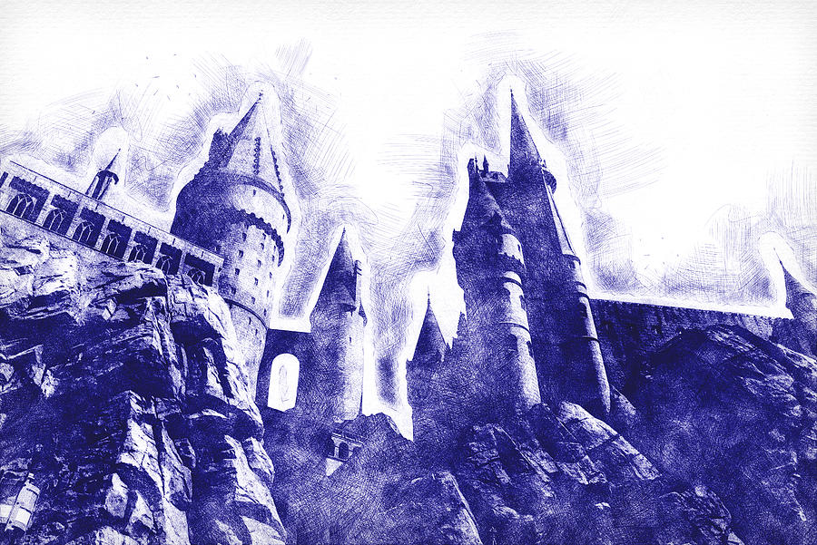 Hogwarts Digital Art - Hogwarts Pen Sketch by Matthew Nelson