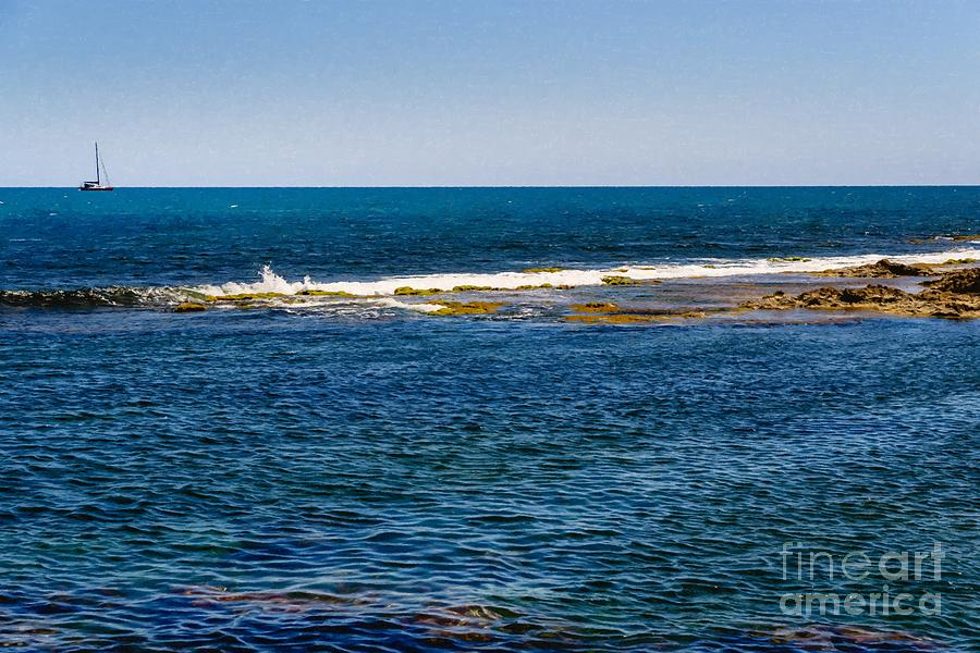 Holiday background in the sea with a sailboat in the distance on by Joaquin Corbalan
