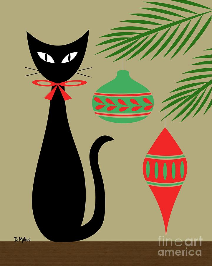 Holiday Cat 1 on Beige by Donna Mibus