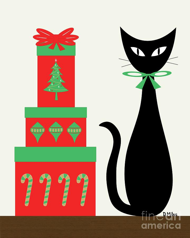 Holiday Cat 2  by Donna Mibus