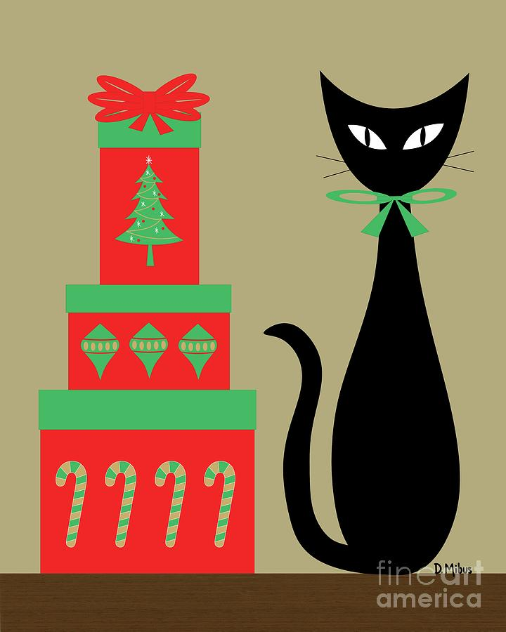 Holiday Cat 2 on Beige by Donna Mibus