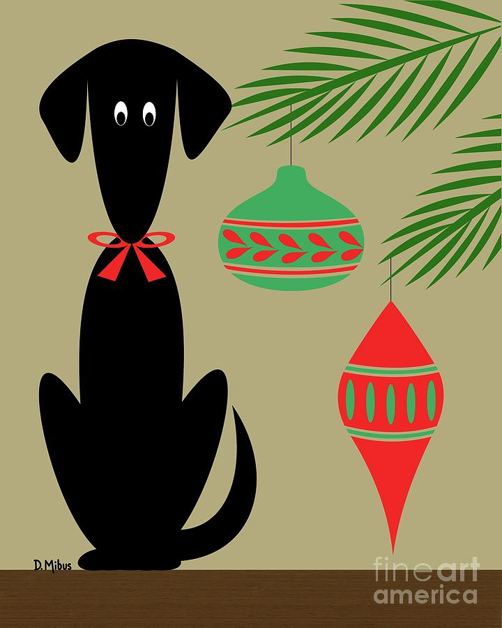 Holiday Dog 1 on Beige by Donna Mibus