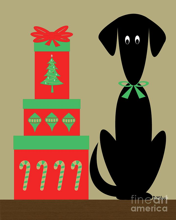 Holiday Dog 2 on Beige by Donna Mibus