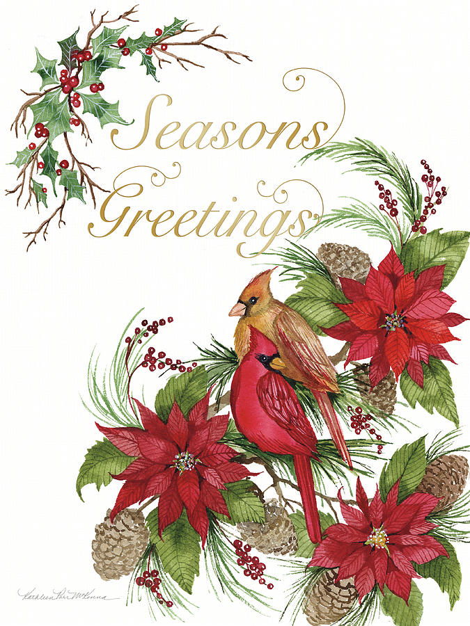 Animals Painting - Holiday Happiness Vi Greetings by Kathleen Parr Mckenna