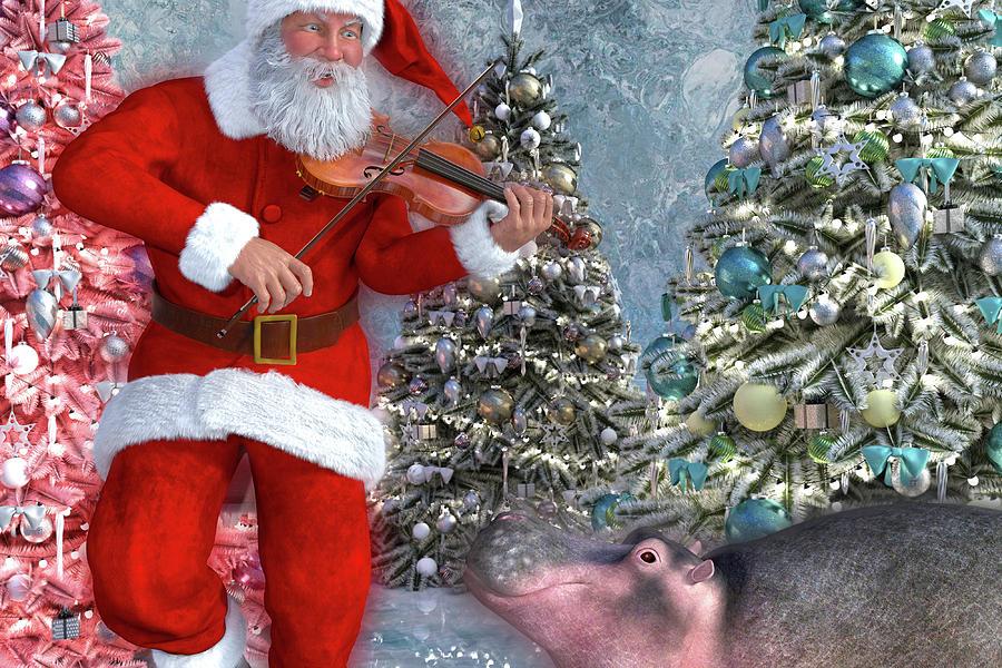 Hippo Digital Art - Holiday Hippo Dancing Cheer by Betsy Knapp