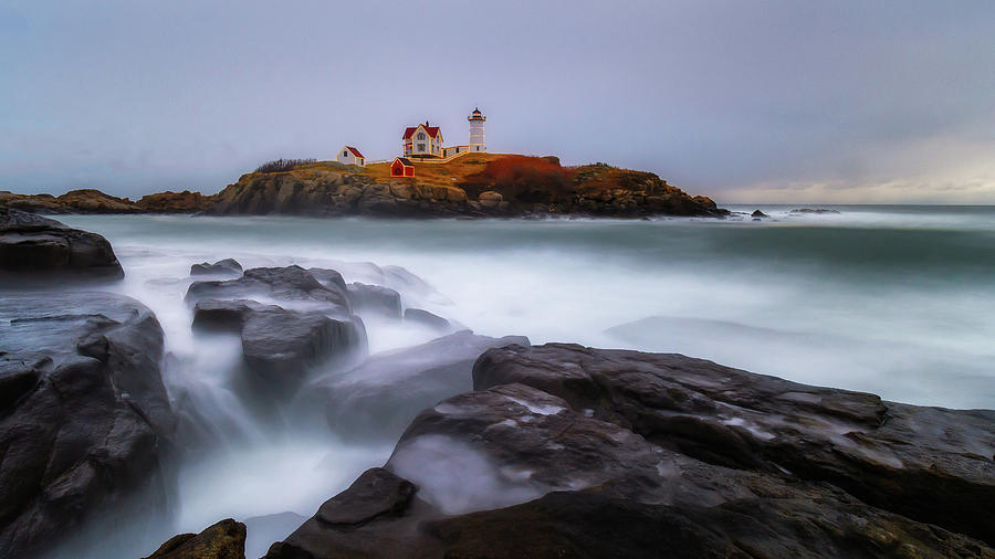 Holiday Lights, Nubble Lighthouse York ME. by Michael Hubley