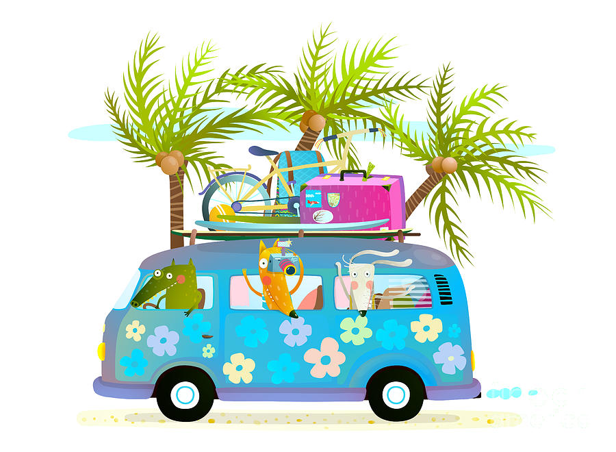 Bus Digital Art - Holiday Summer Bus With Beach Tropical by Popmarleo