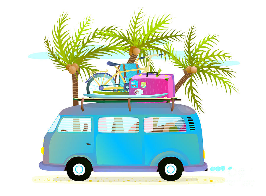 Bus Digital Art - Holiday Summer Trip Bus For Beach by Popmarleo