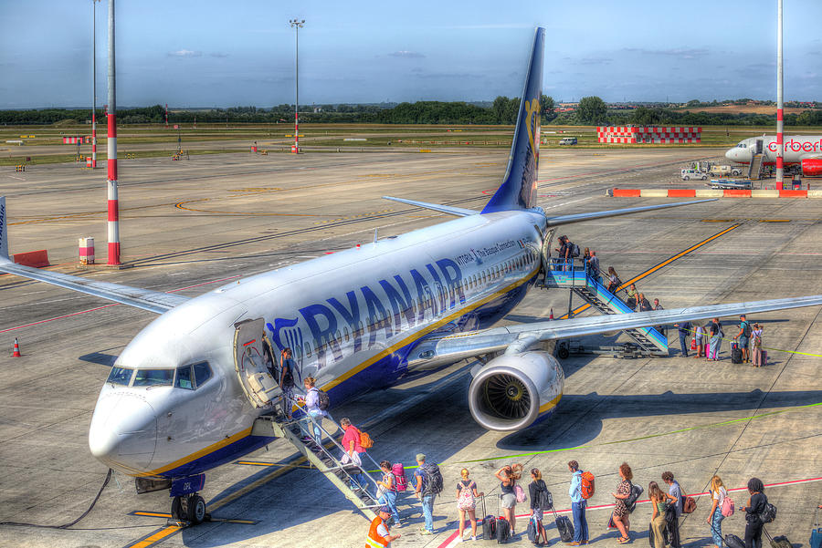 Holidaymakers Boarding Airliner Photograph