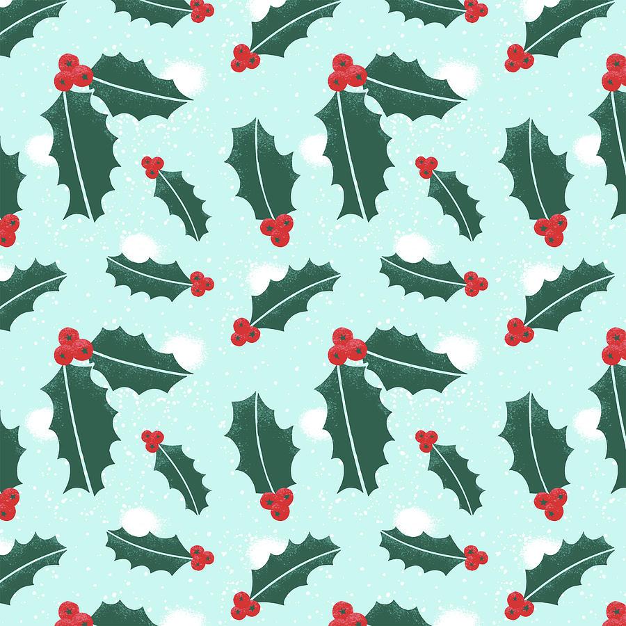Holly Christmas Pattern by Jen Montgomery