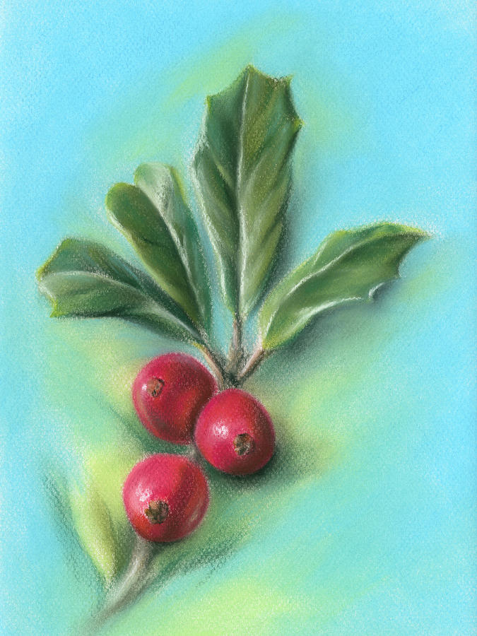 Holly Sprig with Three Berries by MM Anderson
