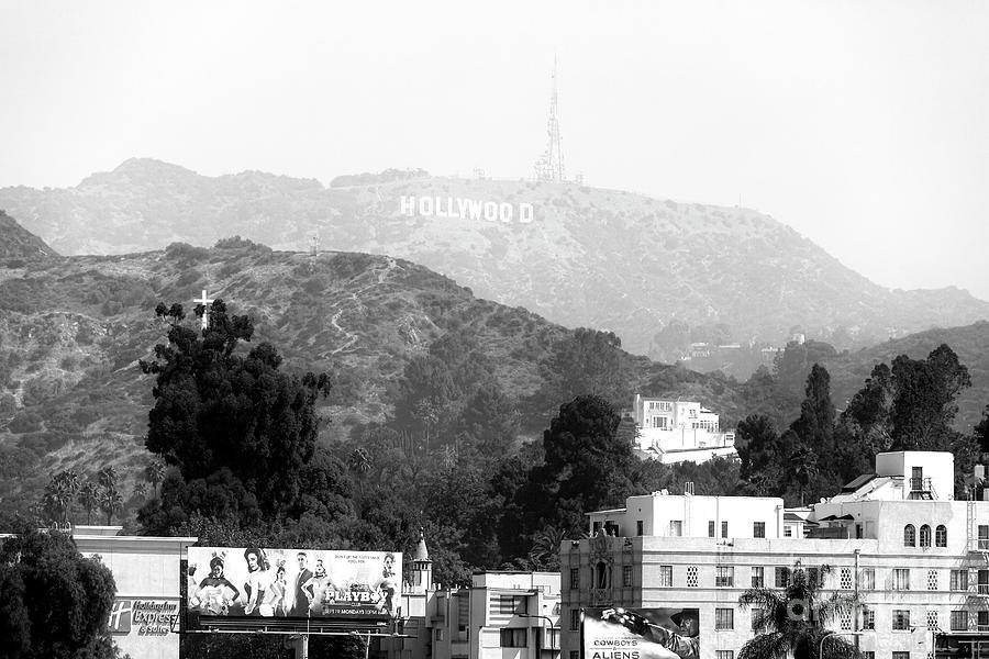Hollywood Sign Photograph - Hollywood Sign Black And White by John Rizzuto