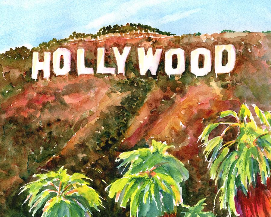 Hollywood Sign California USA by Carlin Blahnik CarlinArtWatercolor