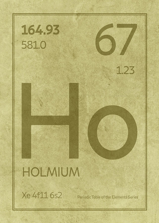 Holmium Element Symbol Periodic Table Series 067 Mixed Media By