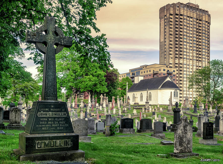 2015 Digital Art -  Holy Cross Cemetery And Our Lady Of Sorrows Chapel by Ken Morris