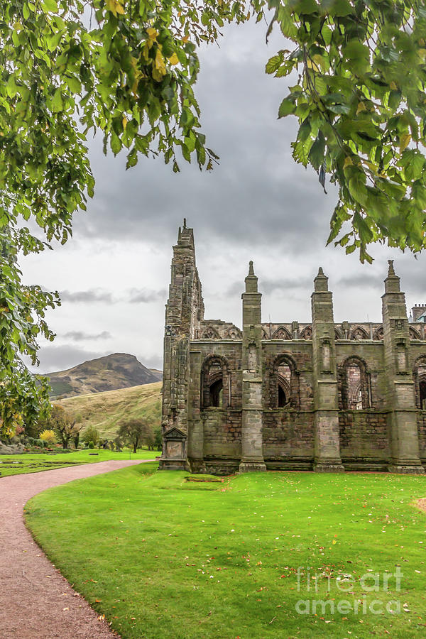 Holyrood Abbey With Arthurs Seat Photograph