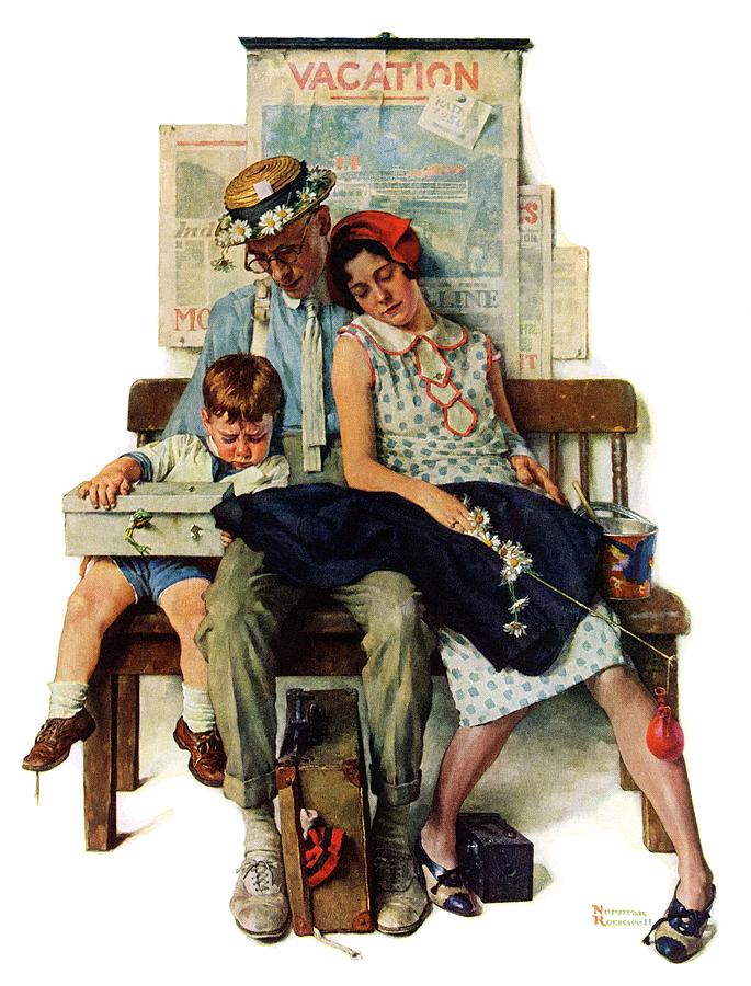 Families Drawing - Home From Vacation by Norman Rockwell