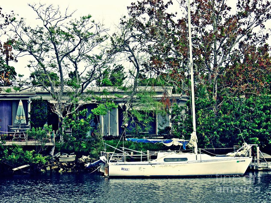 Boat Photograph - Home on a Florida Canal 1 by Sarah Loft