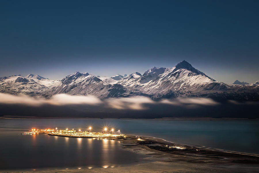 Homer Spit with Moonlit Mountains by James Capo
