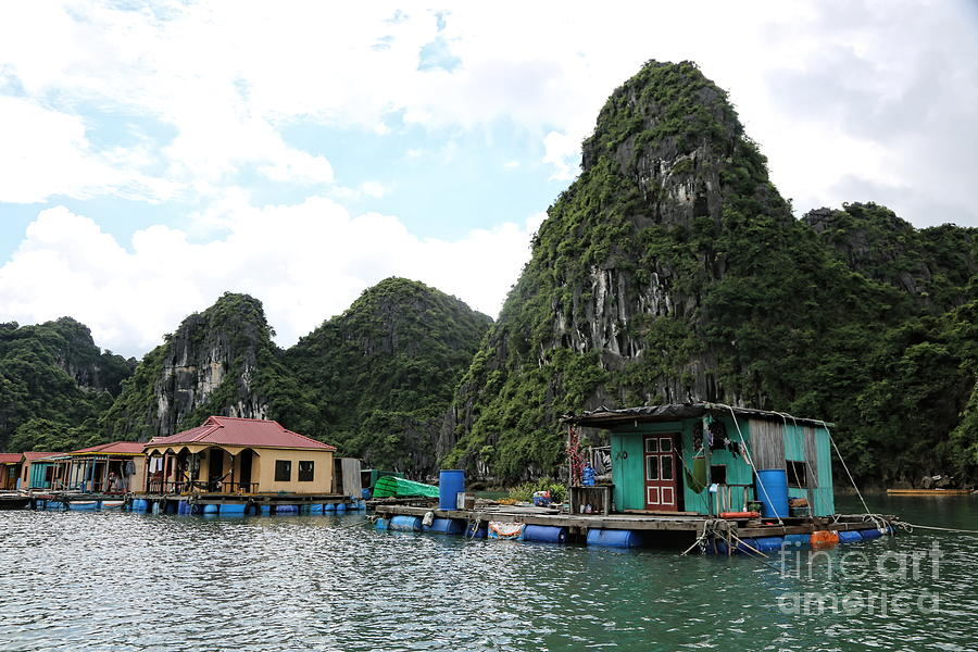 Vietnam Photograph - Homes On Ha Long Bay Gulf Of Tonkin  by Chuck Kuhn