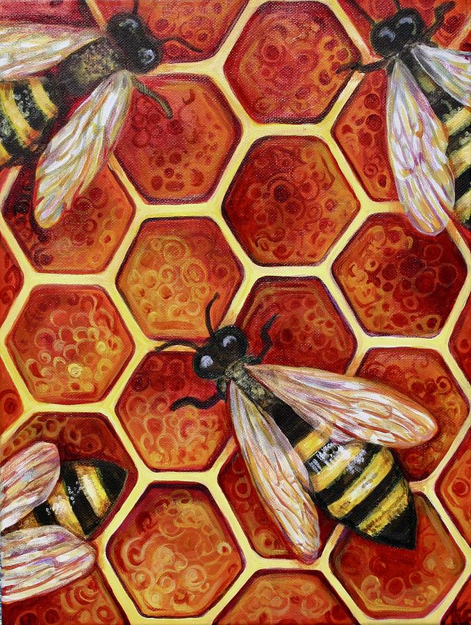Bees Painting - Honey Bees by Kate Fortin