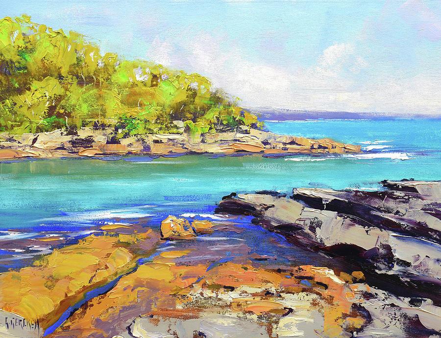 Beach Scenes Painting - Honey Moon Bay nsw by Graham Gercken