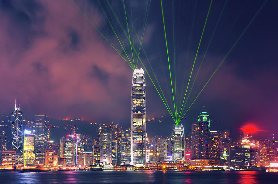 Hong Kong A Symphony Of Lights Photograph by Nanut Bovorn