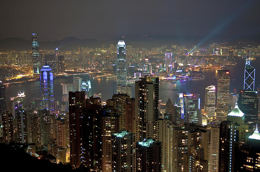 Hong Kong At Night Photograph by Luismaxx