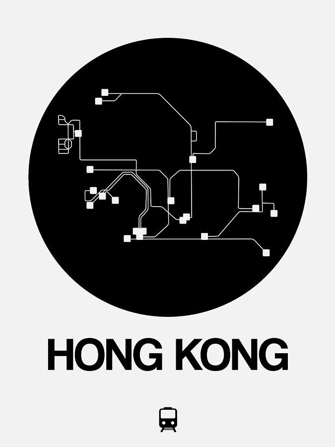 Hong Kong Digital Art - Hong Kong Black Subway Map by Naxart Studio