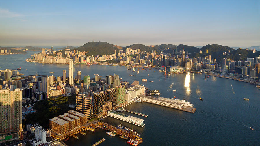 Hong Kong Harbor Super Panorama Photograph by Yuenwu