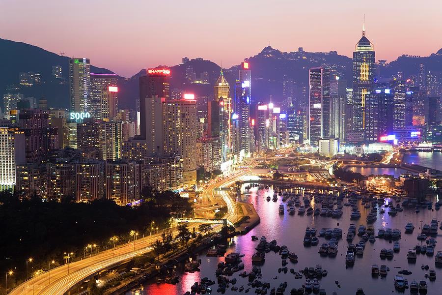 Hong Kong Harbour Photograph by Peter Adams