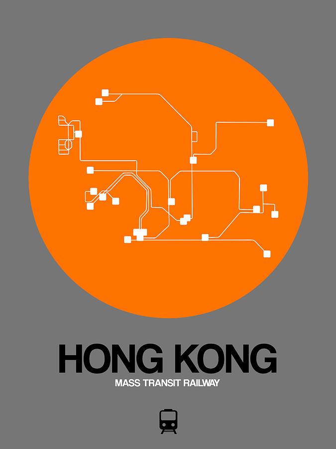 Hong Kong Digital Art - Hong Kong Orange Subway Map by Naxart Studio