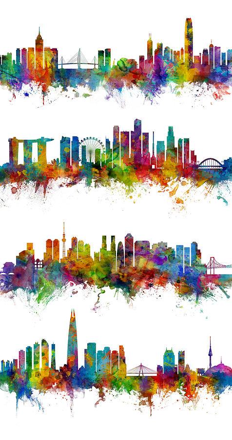 Seoul Digital Art - Hong Kong, Singapore, Tokyo And Seoul Skylines by Michael Tompsett