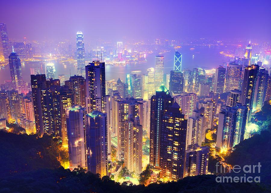 Hk Photograph - Hong Kong Skyline by Sean Pavone