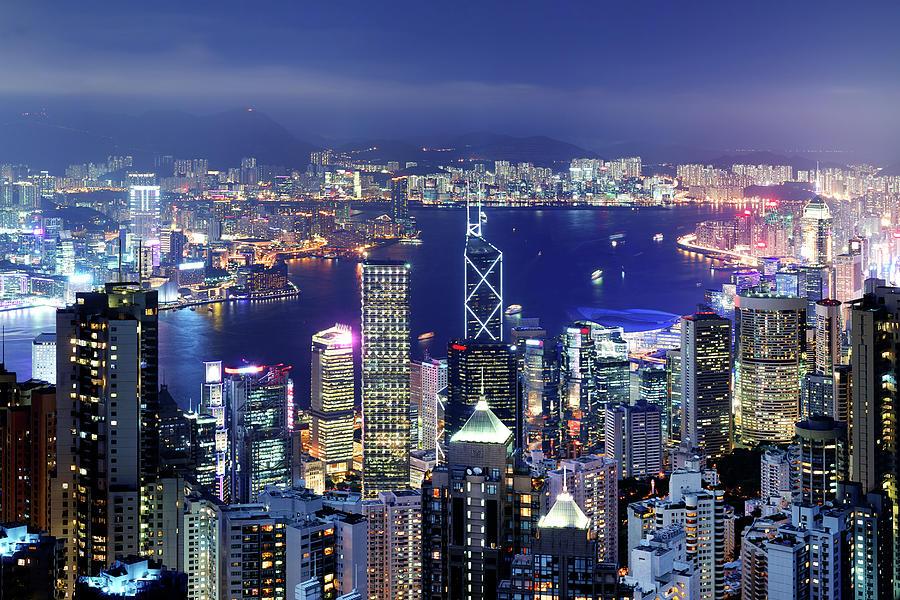 Hong Kong Victoria Harbor At Night Photograph by Samxmeg