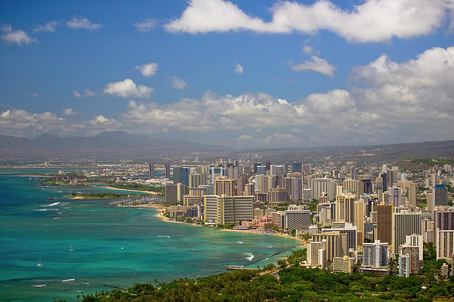 Honolulu Shore And Skyline, With Photograph by Merten Snijders