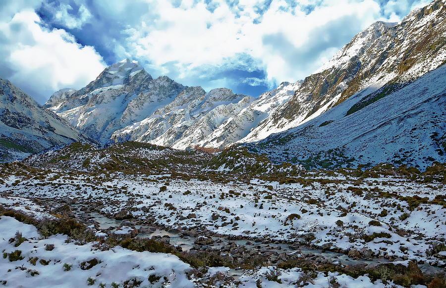 Hooker Valley Winter Scene by Anthony Dezenzio