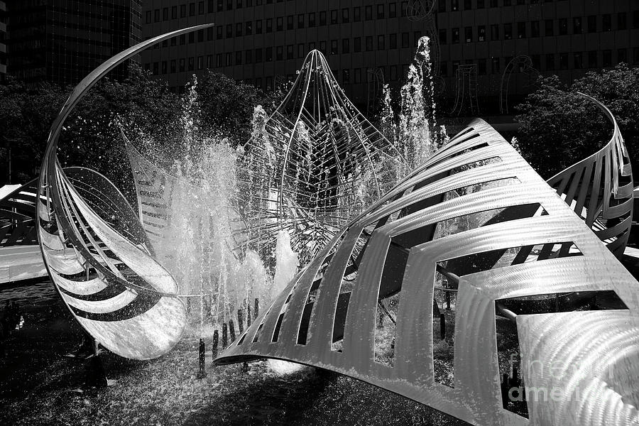 Hopkins Plaza Fountain Black and White Baltimore by James Brunker