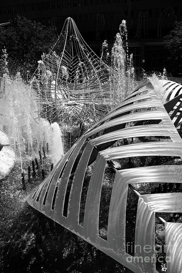 Hopkins Plaza Fountain in Monochrome Baltimore by James Brunker