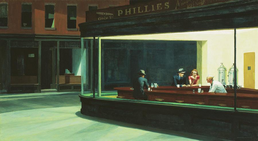 Urban Scenes Mixed Media - Hopper-nighthawks_cc1 by Portfolio Arts Group