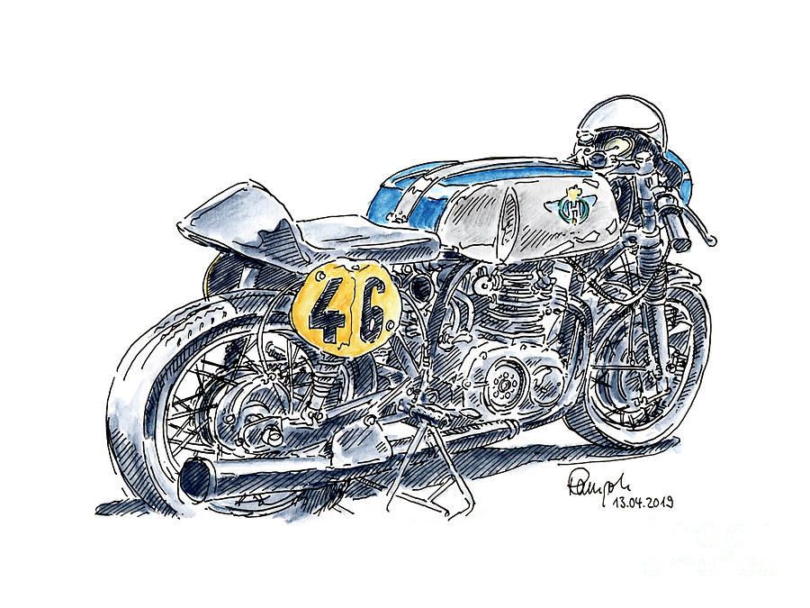 Motorbike Drawing - Horex Classic Racing Motorcycle Ink Drawing and Watercolor by Frank Ramspott