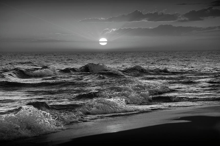 Horizontal Black and White Photograph of a Lake Michigan Sunset by Randall Nyhof