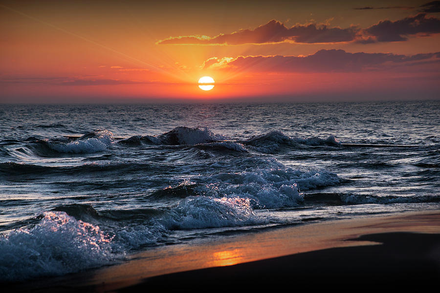 Horizontal Photograph of a Lake Michigan Sunset by Randall Nyhof