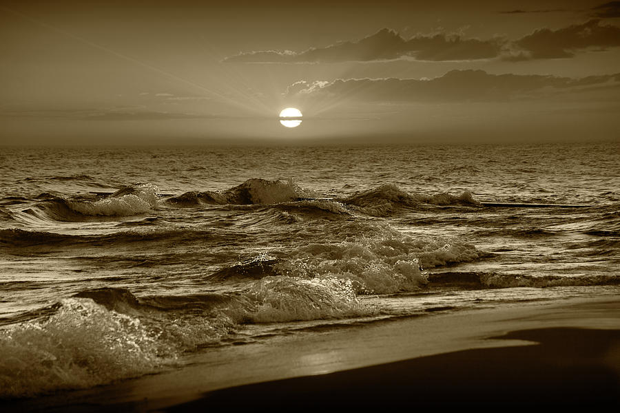 Horizontal Sepia Tone Photograph of a Lake Michigan Sunset by Randall Nyhof