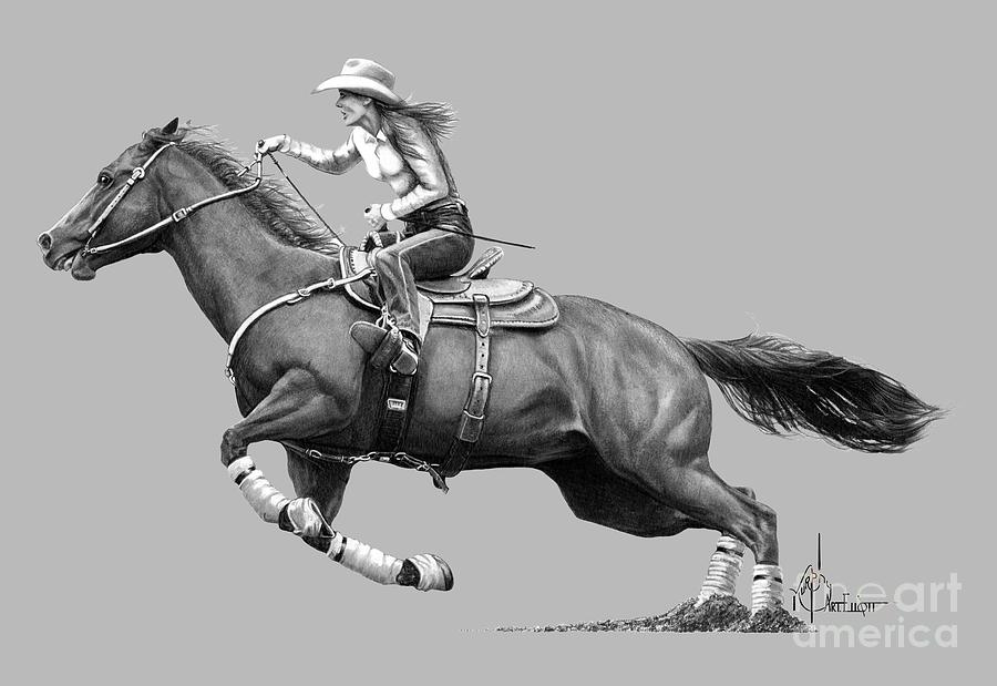 Horse and Rider drawing by Murphy Art Elliott