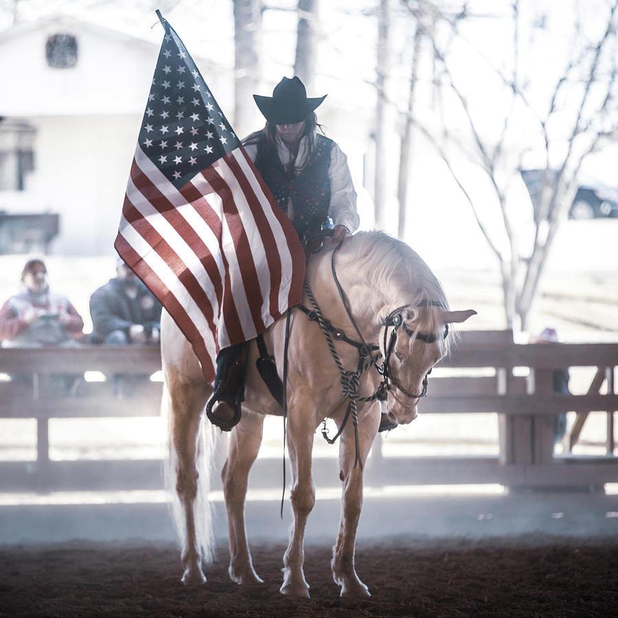 Horse and Rider during National Anthem by Anett Mindermann