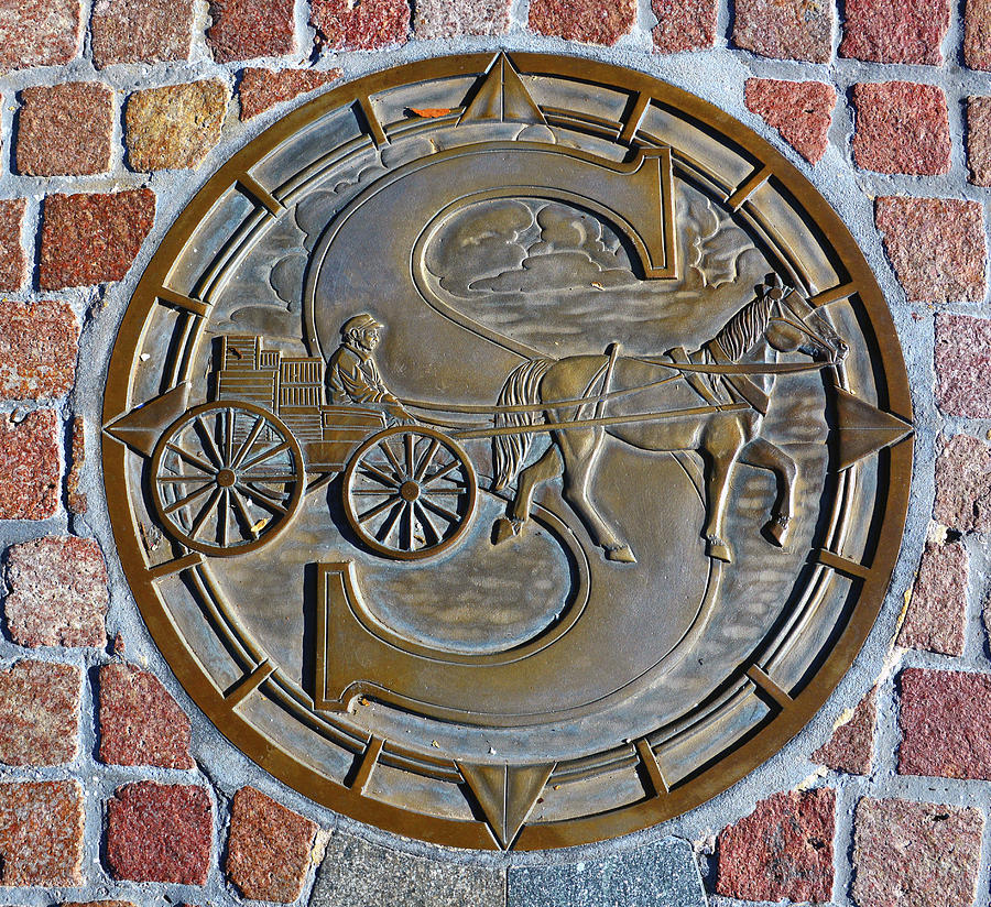 Horse and Wagon Manhole cover at Disney Springs Florida by David Lee Thompson