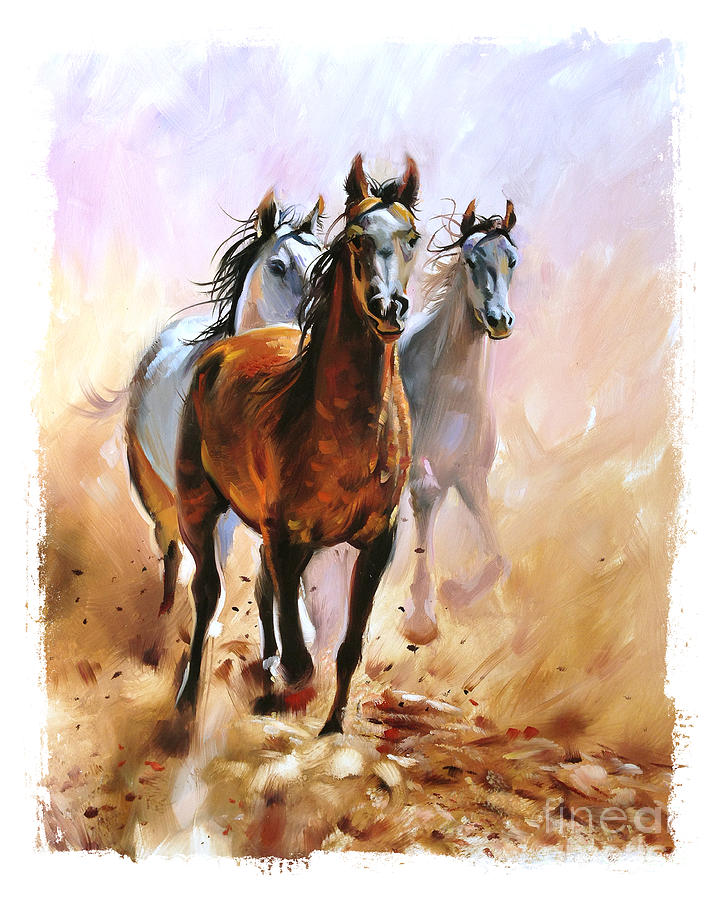 Torn Digital Art - Horse Equestrian Passion Oil Painting by Marc Little
